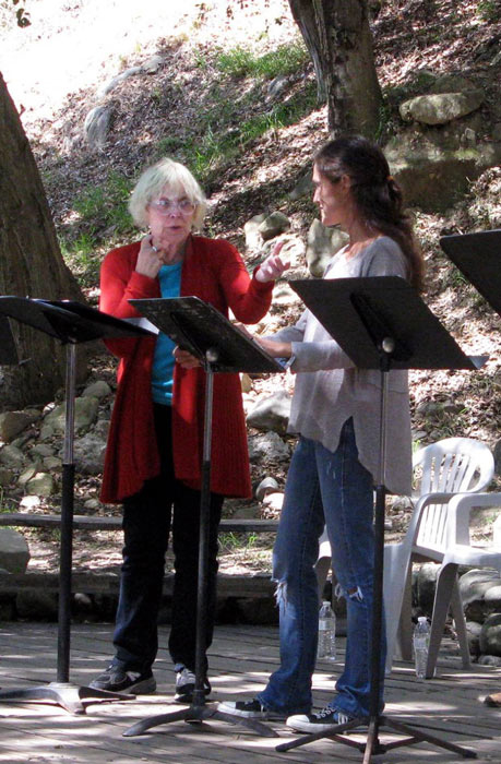 Another image of Katherine reading FULL TILT by Sarah Pitard at Theatricum Botanicums Summer Playreadings.