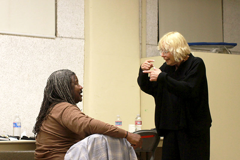 Katherine James directing Gerald Rivers backstage for HOW I SAW IT, a short play written for Green Light Organizations' SHORTIES festival of short plays written and directed by women.