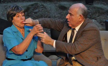 Frank Gulick (me) gives wife Emily (Katherine James) a pill to cope with the thought of their son being a murderer. This is a scene from Tone Clusters at Theatricum Botanicum. (Photo Credit: Ian Flanders)